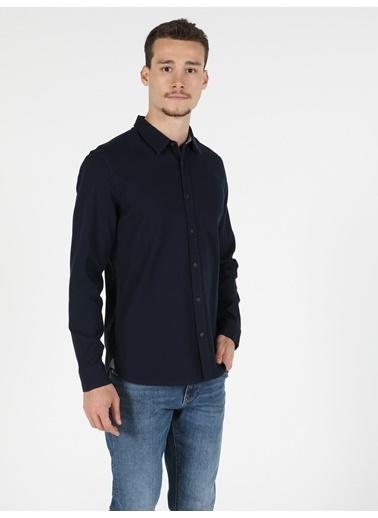 Colin's Colin'S Pamuklu Dar Kesim Shirt Neck Uzun Kol Koyu Ver Erkek Gömlek Lacivert